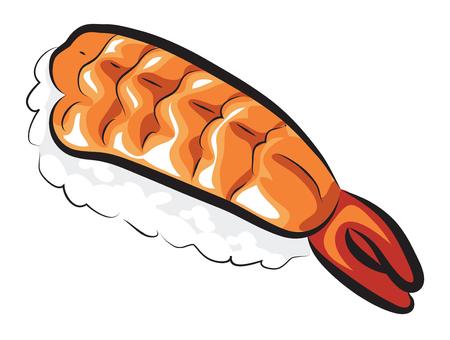 Raw Sweet Shrimp Sushi isolated on white Illustration
