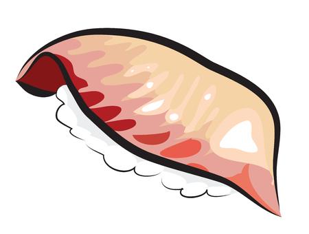 白で隔離される鯛寿司