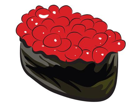 白で隔離される鮭のイクラ寿司  イラスト・ベクター素材