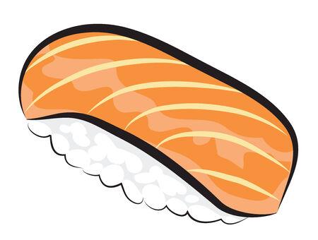 白で隔離されるサーモン寿司