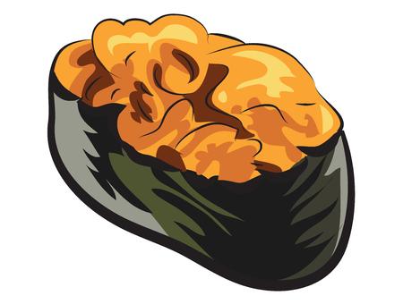 Sea Urchin Sushi isolated on white