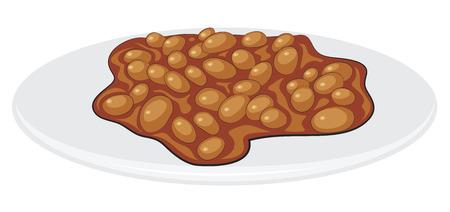 英語の朝食料理された豆は白で隔離されます。  イラスト・ベクター素材