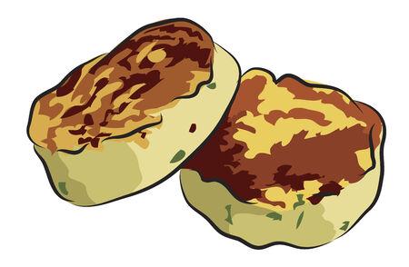 ジャガイモのケーキ - Tosts は、白で隔離