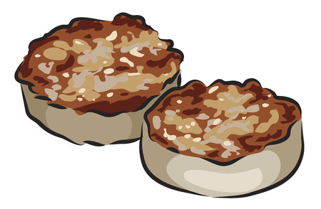 english breakfast: English Breakfast - White Pudding isolated on white