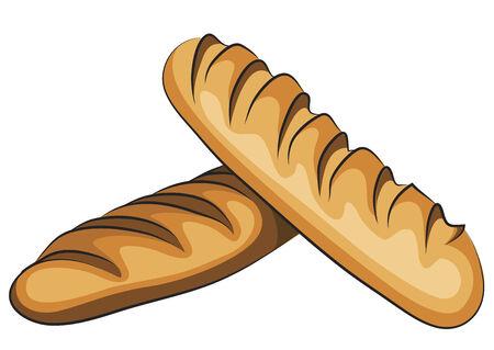 白で隔離されるフランス ・ パン  イラスト・ベクター素材