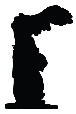 Silhouette of Winged Victory Of Samothrace isolated on white Vector