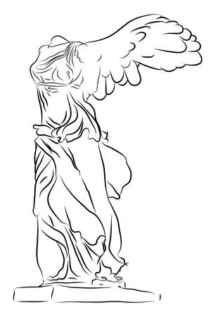 diosa griega: Victoria alada de Samotracia aislado en blanco Vectores