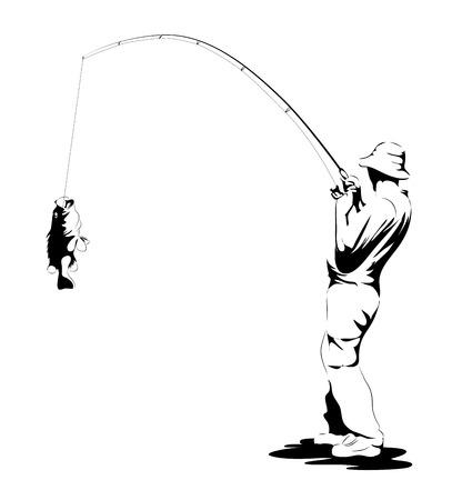 fluga: Fiskare Fånga en fisk isolerad på vitt