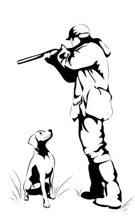 fusil de chasse: Hunter avec un pointeur s'apprête à tourner isolé sur blanc
