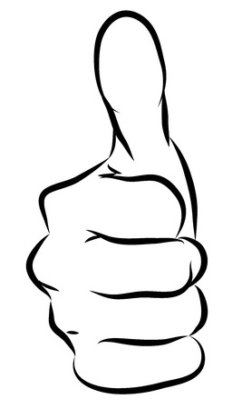 Okey Hand teken geïsoleerd op wit