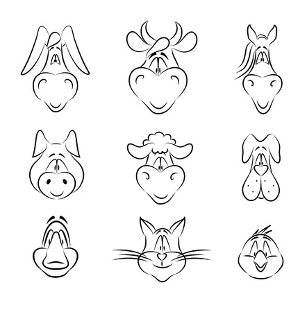 Set of Cartoon Farm Animals isolated on white