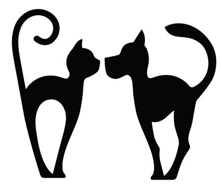 象徴的なシルエットの犬と猫の白で隔離  イラスト・ベクター素材