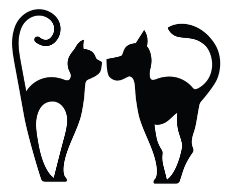 Symbolic Silhouette of Dog and Cat isolated on white