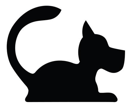Silhouette symbolique d'un chien Allongé isolé sur blanc