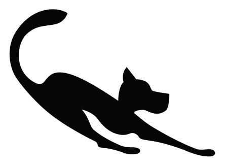 Symbolisch Silhouet van een hond spelen op wit wordt geïsoleerd Stock Illustratie