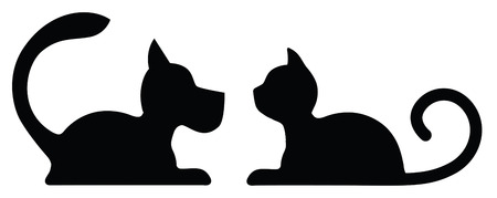 Symbolic Silhouette of a Lying Dog and Cat  isolated on white