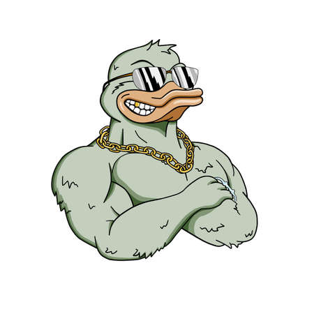 aviators: Muscular duck in sunglasses with a chain around his neck