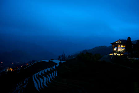resides: Terraced fields in Guilin Night scene