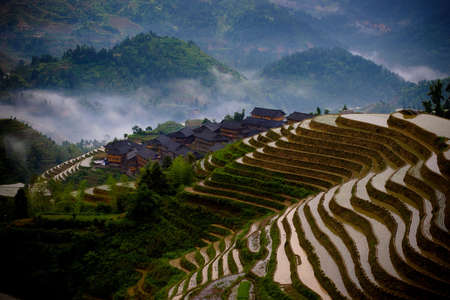 resides: Terraced fields in Guilin Stock Photo