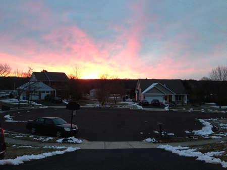winter sunrise: Early morning sunrise on a winter morning. Stock Photo
