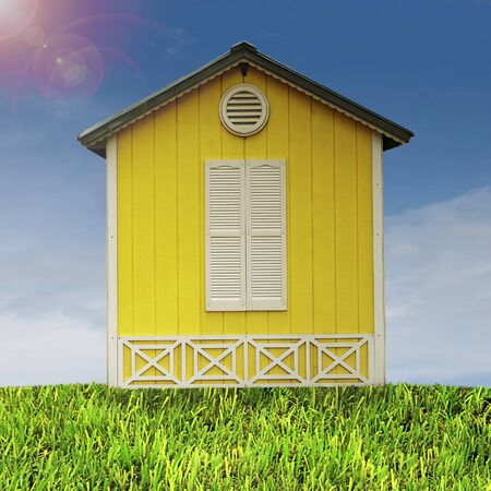 Yellow Hut in the Country Side Stock Photo - 10091311