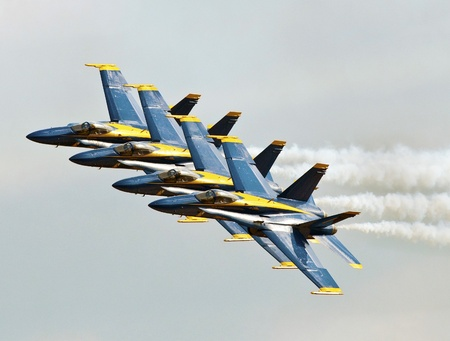 FLORIDA, USA - NOVEMBER 6: Blue Angels fly in formation during performance on Wings Over Homestead on November 6 2010 at Homestead, Fl. USA. This event takes place at the Homestead Air Force Base