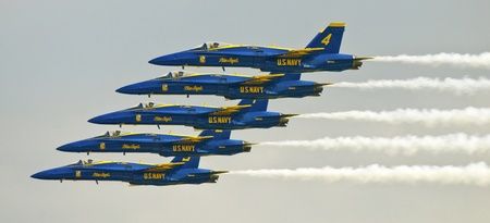 FLORIDA, USA - NOVEMBER 6: Blue Angels fly in formation during performance on