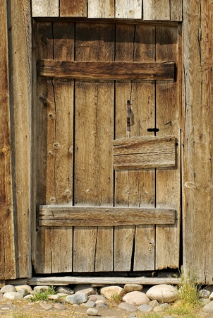 Rustic Barn Wood Door Stock Photo