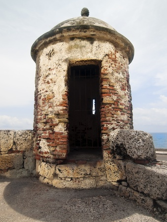 spaniard: Fortified Wall Tower Close-Up Stock Photo
