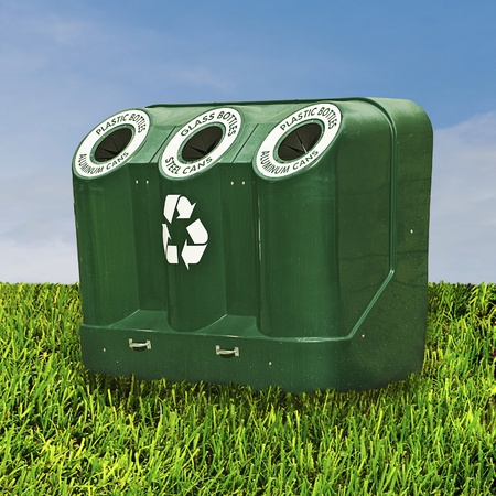 environmental awareness: Green Field with Recycle Container Stock Photo