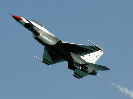 FLORIDA, USA - MAY 7: Thunderbird jet across the sky during performance on Fort Lauderdale Air Show on May 7  2007  at Fort Lauderdale, Fl. USA.