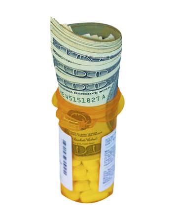 pricey: Dollars on a  Prescription Bottle