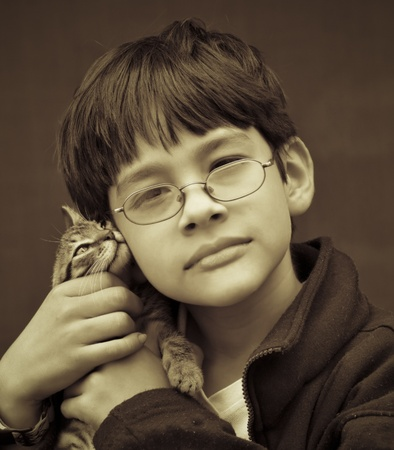 grayscale: Boy Affection for his Pet - Grayscale Image