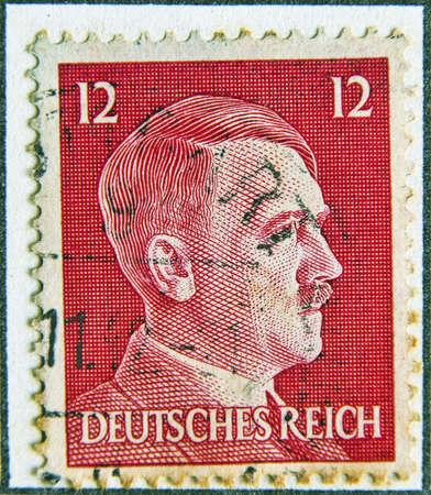 adolf hitler: Adolf Hitler profile stamp. Circa 1942