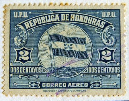 bandera honduras: HONDURAS - CIRCA 1970: Un sello impreso en Honduras muestra la bandera de América Central, alrededor de 1970