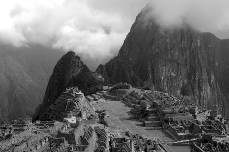 Macchu Picchu Classic View in Grayscale Stock Photo - 13209414