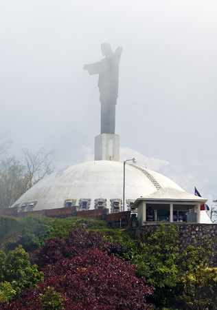 Redeemer Christ in the fog at  Puerto Plata, Dominican Republic.