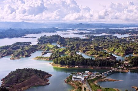 medellin: Aerial View of Guatape Lake, Colombia
