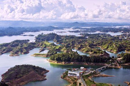 Aerial View of Guatape Lake, Colombia Banco de Imagens - 14965041