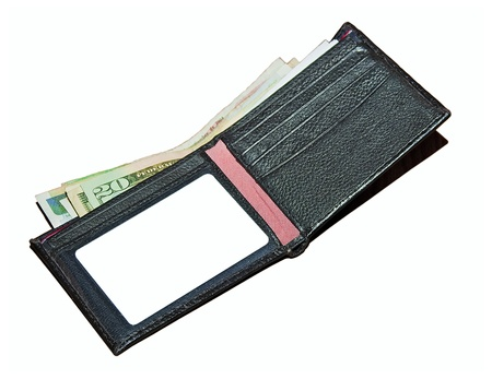 Isolated black leather wallet with bills and available blank space photo