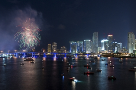 new years day: Fireworks Over Miami  Editorial