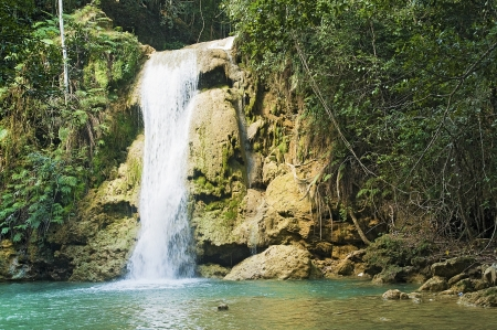Lower Limon waterfall at Samana, Dominican Republic Stock Photo