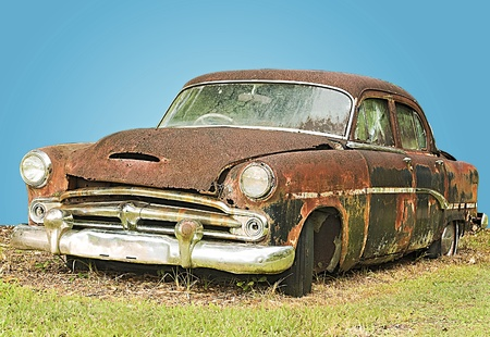 abandoned car: Vintage Rusty Automobile Stock Photo