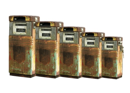 scaled: Isolated Scaled Vintage Gas Pumps