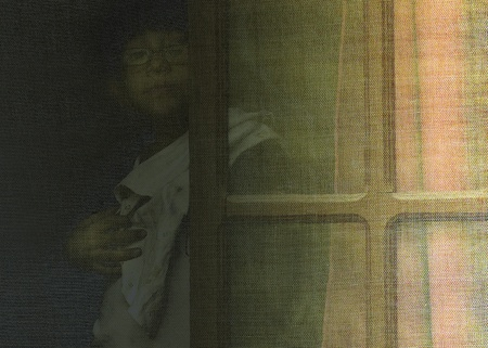 parapsychology: Ghostly Kid Silhouette Behind Window