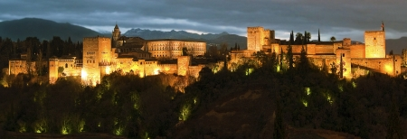Panoramic View of Alhambra Palace at Dusk in Granada, Spain