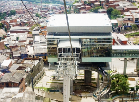 medellin: Tram Metro Station Over the suburbs at Medellin, Colombia