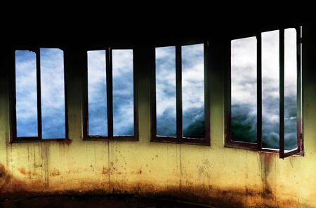 Surreal Windows Overlooking a Dramatic Stormy Sky