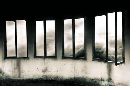 Windows Through a Storm - Grayscale Banco de Imagens