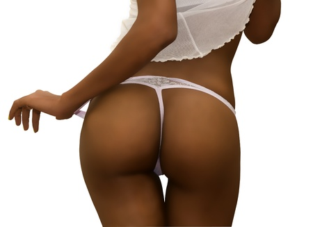 nude ass: Back of a Sexy Dark Skinned Female in Lingerie